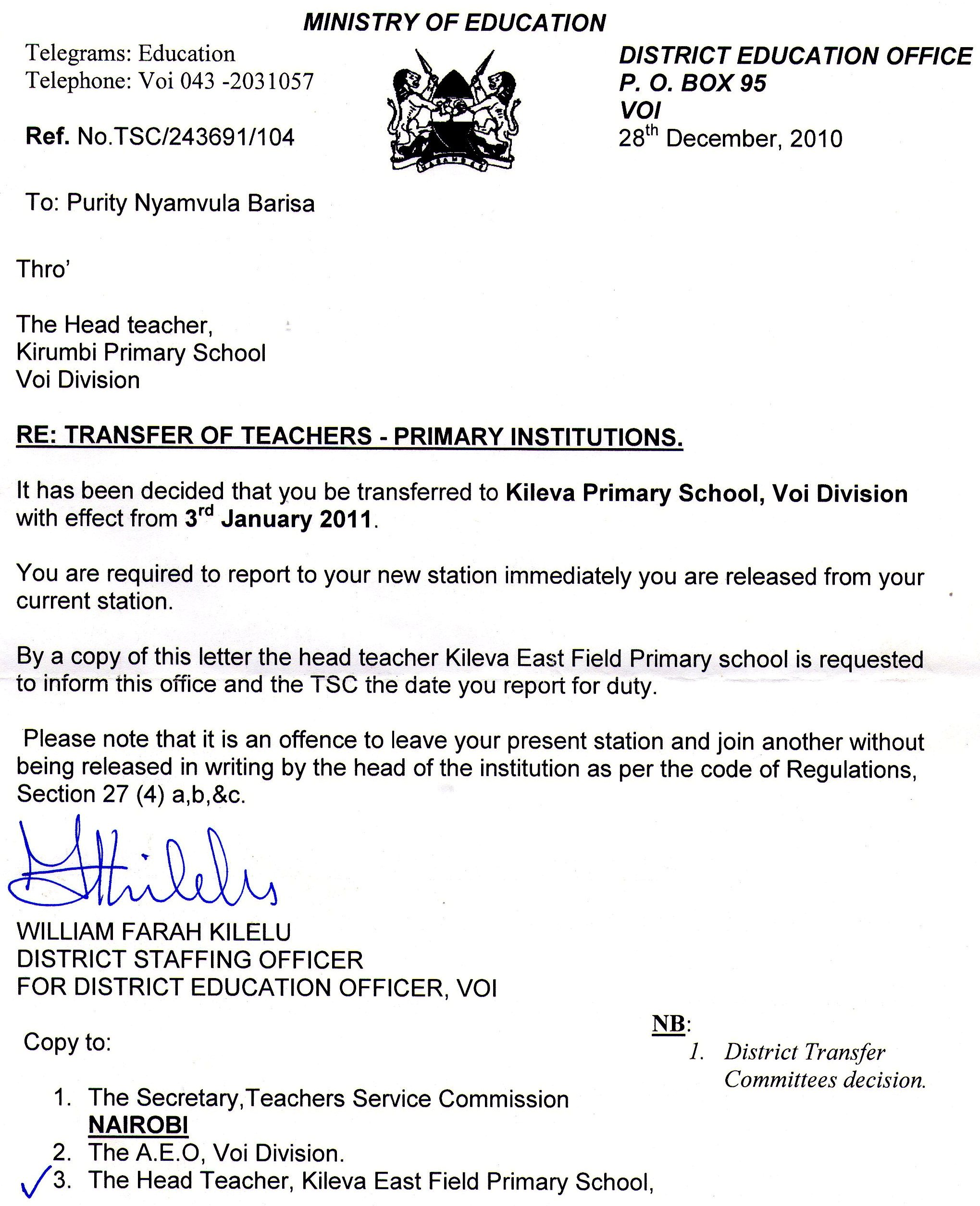 Teacher Appointment Letter  Letter Of Appointment
