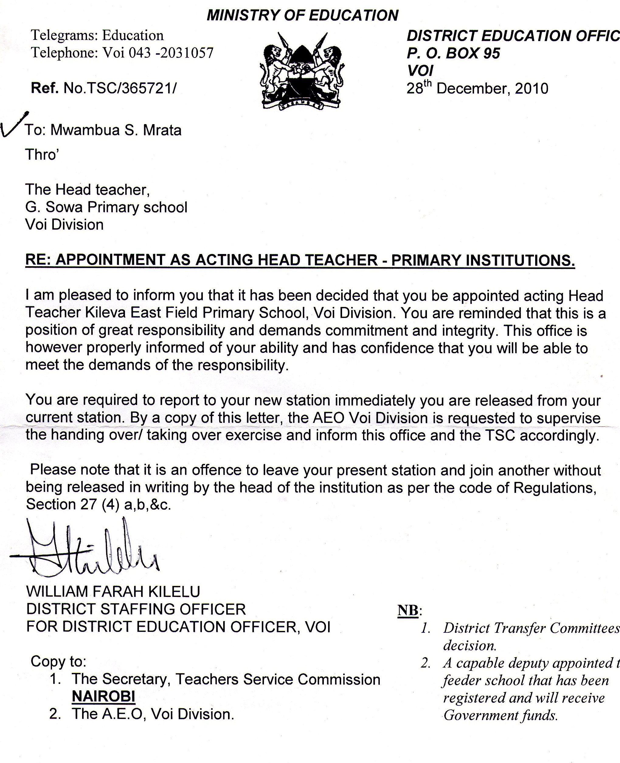 Head Teacher Appointment Letter  Letter Of Appointment
